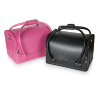 Rio Professional Salon Cosmetic Vanity Case in Black & Pink